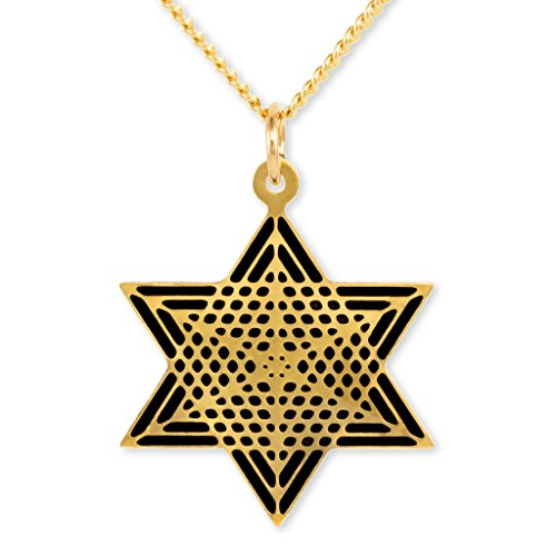 Enamel Star Of David Pendant - Gold Plated Star of David Pendant - Black Enamel Charm Necklace, 17.5
