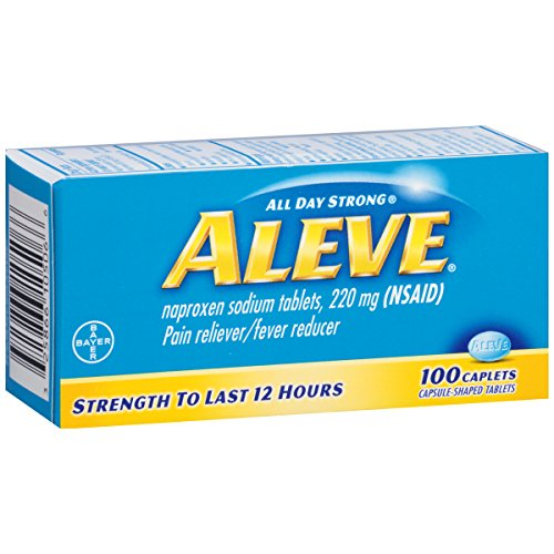 Aleve Caplets with Naproxen Sodium, 220mg (NSAID) Pain Reliever/Fever Reducer, 100 Count - Naproxen Pain Reliever