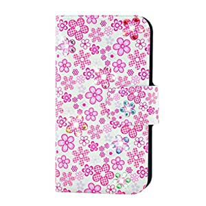 Generic Rhinestone Small Pink Flower Design Card Slot Magnetic PU Leather Flip Case Cover Compatible For Sony Xperia C3