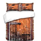 iPrint 3Pcs Duvet Cover Set,Rustic,Photograph of Antique Knotted Pine Wood with Control Window Lumber Nature Design,Caramel Brown,Best Bedding Gifts for Family/Friends