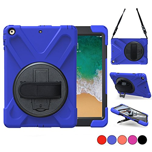 New iPad 9.7 2018 2017 Case, iPad 5th 6th Gen Case, Protective Case with Shoulder Strap, Hand Grip & 360 Rotating Stand, Shockproof Apple Tablet Cover For Kids 9.7 Inch A1822 A1823 A1893 A1954 (Blue) by TSQ
