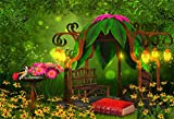 Laeacco Artistic Cartoon Jungle Forest Backdrop Vinyl 7x5ft Fairytale Fancy Wooden Floral Roof Pavilion Bench Bright Lanterns Flowers Old Red Book Background Baby 1st Birthday Party Banner Cake Smash