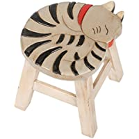 Gray Tabby Cat Design Hand Carved Acacia Hardwood Decorative Short Stool