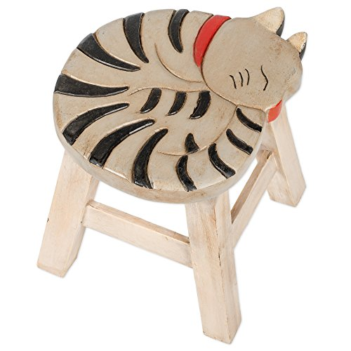 Gray Tabby Cat Design Hand Carved Acacia Hardwood Decorative Short Stool by Sea Island Imports