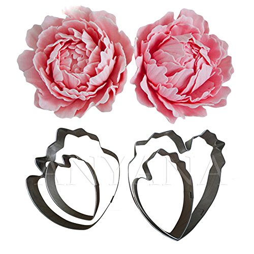 Gum paste pastry metal Cutters Flower Petal 4pcs set Anyana peony fondant cake decorating sugarcraf cupcake decor topper sugar Tools (Cut Flowers Peony)