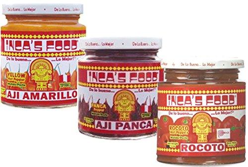 - Inca's Food Mixed Sampler - Aji Amarillo, Aji Panca, and Aji Rocoto - (3) 7.5 Oz Jars