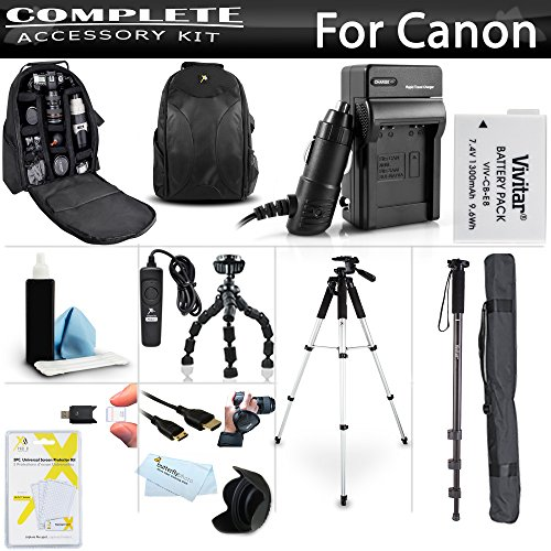 Essential Accessory Kit For Canon EOS Rebel T5i T4i T3i DSLR Camera Includes Replacement LP-E8 Battery + Charger + Backpack Case + HDMI Cable + Remote Switch + Tripod + Monopod + Wrist Grip +Much More