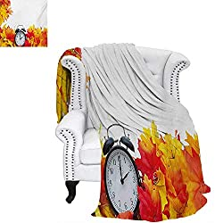 warmfamily Clock Custom Design Cozy Flannel Blanket Autumnal Leaves and an Alarm Clock Fall Season Theme Romantic Digital Print Weave Pattern Blanket 62x60 White and Orange