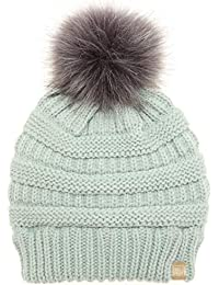 MIRMARU Kids Boys & Girls Winter Soft Warm Knitted Beanie Hat with Faux Fur Pom Pom for Ages 7-12 (Solid Mint)