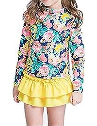Girls Swimsuit Rashguard Shirt 3 PCS Ruffled Floral Swimsuit Set with Hat Skirt