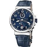 Ulysse Nardin Marine Chronometer Blue Alligator Leather Mens Watch 1183-126-63