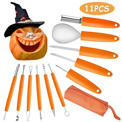 11PCS Halloween Pumpkin Carving Kit, VOIMAKAS Heavy Duty Stainless Steel Carving Tools Set with Storage Carrying Bag for Halloween Decorations, DIY Cutting Tools Carving Knife for Pumpkin