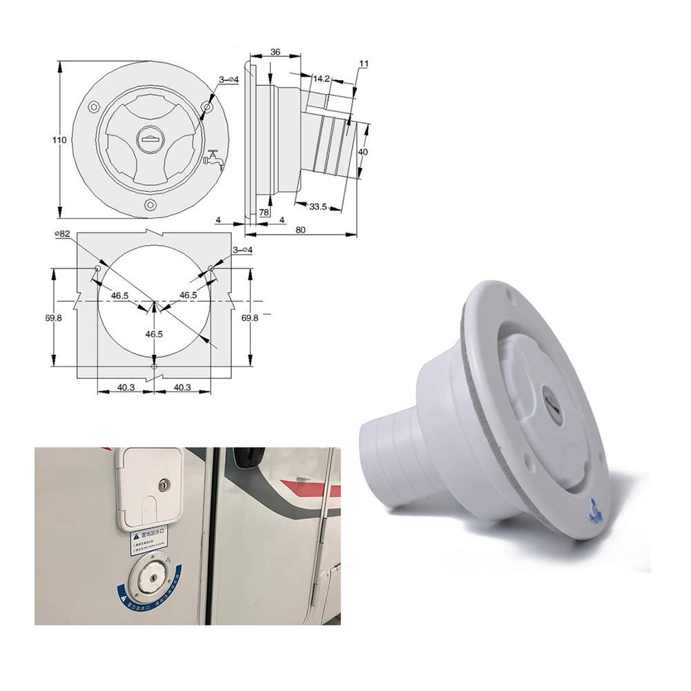 BEESCLOVER White Round Gravity City Water Inlet Fill Dish Hatch Lock for RV Trailer Camper White A1235