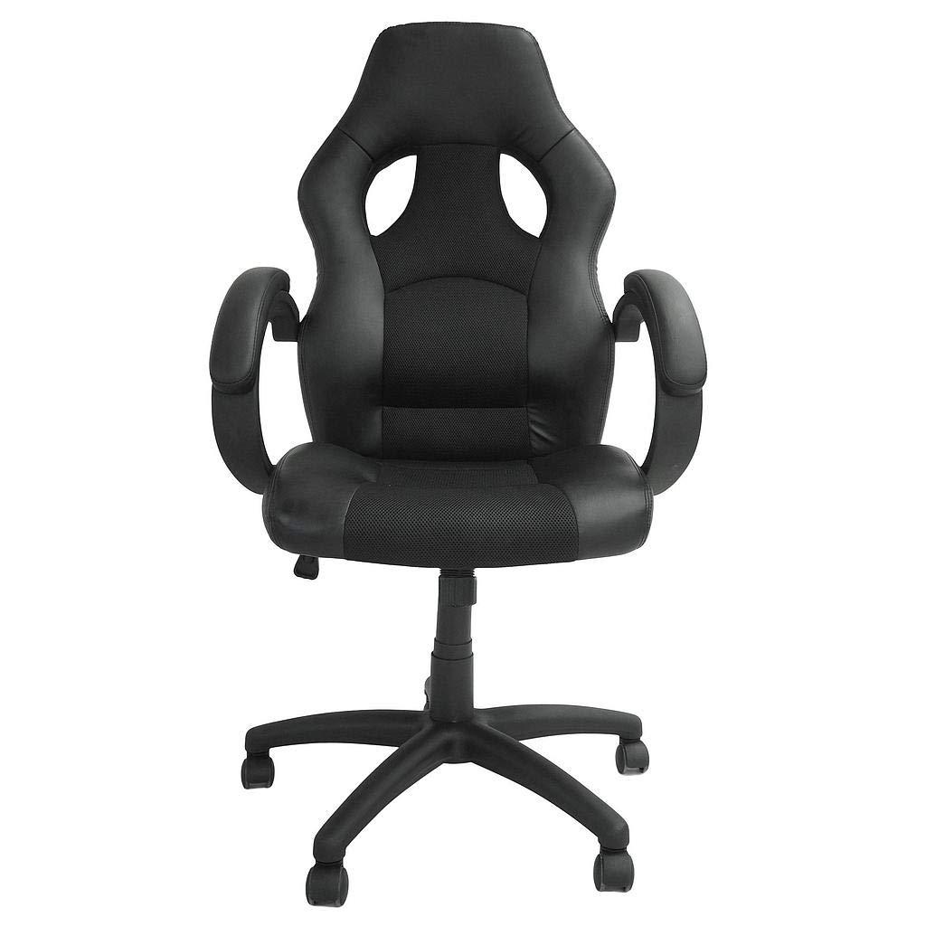 Todeco - Schreibtischstuhl, Gaming-Stuhl - Größe  115 x 65 x 65 cm - Maximale Belastbarkeit  250 kg - Racing, Schwarz, Imitation Leder and spaced mesh