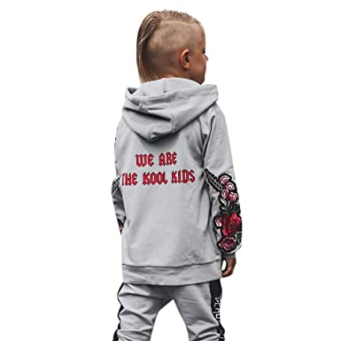 709fd6c9b DIGOOD Toddler Baby Boys Girls Floral Embroider Hoodie Pocket Pullover Tops,Kids  Hooded Jacket Coat