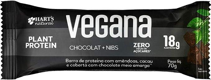Barra de Proteína Vegana Sem Açúcar de Chocolate Nibs por Hart's Natural