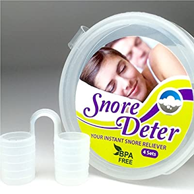 Best Working Anti Snoring Devices - SNORE DETER - The Instant Yet The Simplest Solution For Snore Relief, Easy To Use, Super Comfortable With Reusable Premium Medical Grade Silicone, 4 Sets With Various Sizes In A Free Travel Case