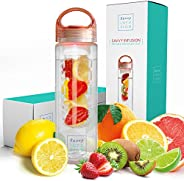 Savvy Infusion Water Bottles - 24 or 32 Ounce Fruit Infuser Bottle - Featuring Unique Leak Proof Silicone Seal