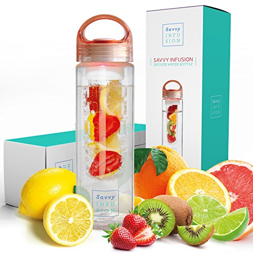 (Savvy Infusion Water Bottles - 24 or 32 Ounce Fruit Infuser Bottle - Featuring Unique Leak Proof Silicone Sealed Cap with Handle - Great Gifts for Women )