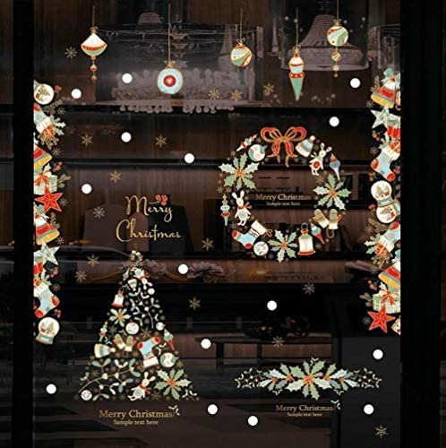 Christmas Window Stickers – Snowflakes/Stars / Wreath / Stocking/Gifts / Balls Removable Xmas Wall Decals for Shop Office Room Doors Home Christmas Decoration