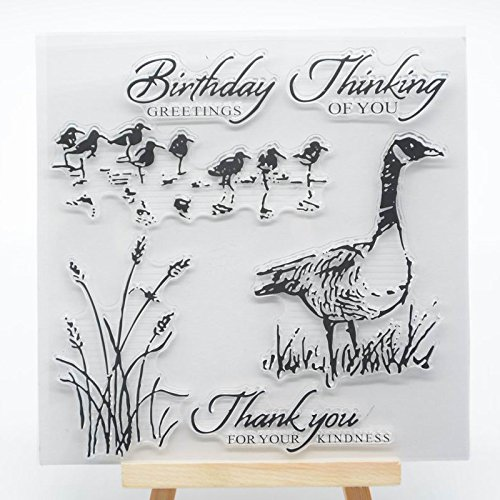 Welcome to Joyful Home 1pc Duck Birthday Greetings Clear Stamp for Card Making Decoration and Scrapbooking