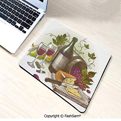 Personalized 3D Mouse Pad Vintage Style Composition with Wine and Cheese Fruits Gourmet Taste Beverage and Food for Laptop Desktop(W7.8xL9.45)