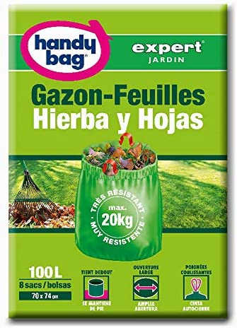Handy Bag Bolsas Basura 100L Jardín Hojas y Hierbas, Extra Resistentes, 8 Sacos: Amazon.es: Alimentación y bebidas