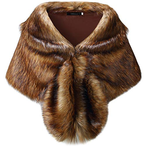 Caracilia Women Luxury Faux Fur Shawl Wrap Stole Cape For Wedding CA95 , Long Raccoon Fur , Small
