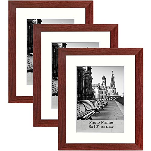 meetart 8x10inchWalnut colorPhoto Frames mat to 5x7inch, Pack of 3 Piece, in Plastic Glass, MDF Wood Material Easel for Table Top Stand and Wall Hanger Vertical and Horizontal.