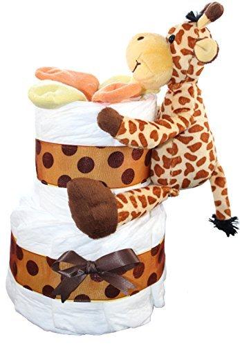 2 Tier Mini Diaper Cake With Giraffe, Safari