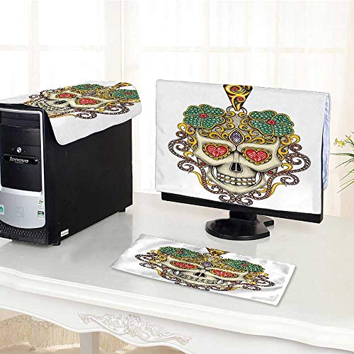 Auraisehome Computer dustproof Three-Piece The Dead Decor Sugar Skull with Heart Pendants and Floral Jewelry Print White for LED LCD Screens Flat Panel HD Display /17