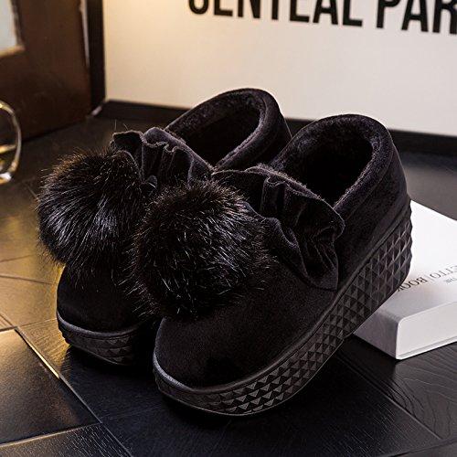 Inverno fankou pantofole di cotone home pantofole spessa femmina incantevole piscina termale pacchetto con anti-skid scarpe scarpe di cotone ,34-35, nero scarpe di cotone