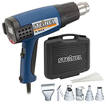 Steinel HL 2010 E Heat Gun - Automotive Kit include a 1500 W power tool, ergonomically designed Heat Gun with LCD Display, 3 Stage Switch airflow and continuously variable temperature up to 1150°F, electrical heat tool set includes welding iron, 2 reducer nozzles, wire mesh and 16 ThermoFlex rods, 34853
