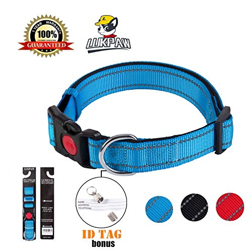 LukPaw Reflective Dog Collar Padded Dog Collar Adjustable Dog Collar for Large Dog Medium Dog Nylon Collar Running Training (Blue) ()