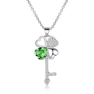 b92cc888b5a7fb Amazon.com  Vinjewelry St. Patrick s Day Four Leaf Clover Pendant ...