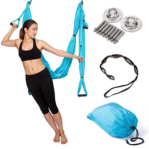 Aerial Yoga Swing Ultra Strong Yoga Antigravity Hammock Trapeze Sling for Antigravity Yoga Inversion Exercises With 2 Extensions Straps and Installation Hardware Included