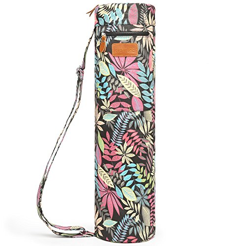 ELENTURE Full-Zip Exercise Yoga Mat Carry Bag with Multi-Functional Storage Pockets (Colorful leaves)