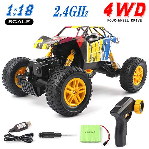 GobiDex RC Cars, Remote Control Car, 4WD RC Monster Truck 1/18 Scale 2.4 GHz Offroad Waterproof High Speed RC Crawlers with Rechargeable Battery, Electric Hobby Toy Cars for Adults Kids & Boys