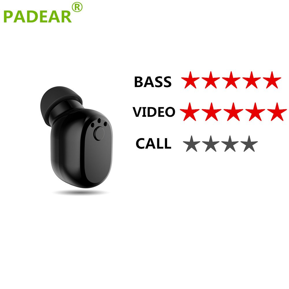 Padear Mini Invisible Bluetooth Earbud,V4.1 Stereo Wireless Bluetooth Earphone with Built-in Mic, Sports Noise Cancelling In-ear Earphone For Iphone Samsung And Other Android Phones (black) by padear