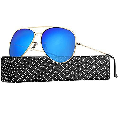 Lunettes Lunettes de Femmes UV400 PROKING Polarisé Frame Soleil Pour Soleil Blue Soleil Lens Rond Rétro Unisexe de Gold et Lunettes de Soleil Hommes Lunettes Sx8CxqT