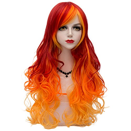 Red Mixed Yellow Ombre Long 75CM Curly Heat Resistant Lolita Fashion Women Cosplay Wig + Wig Cap -