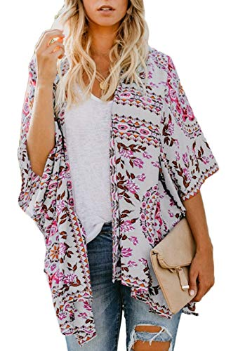 Womens Summer Kimono Cardigan Beach Bikini Cover Up Loose Flowing Blouse Top Floral Print Shawloral Print Shawl Loose Half Sleeve Blouse Tops White