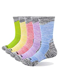 YUEDGE Women's 5 Pairs Performance Wicking Cushion Cotton Moisture Athletic Crew Socks for Sports Outdoor Camping and Hiking