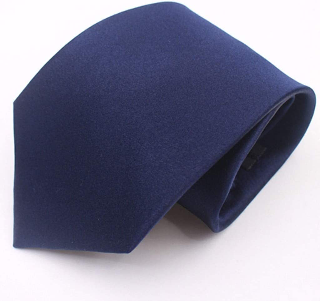 LDG Solid Color Tie Color : Navy Bule Mens 10cm Wide Business Marriage Interview Job Dress Silk Tie with Gift Box