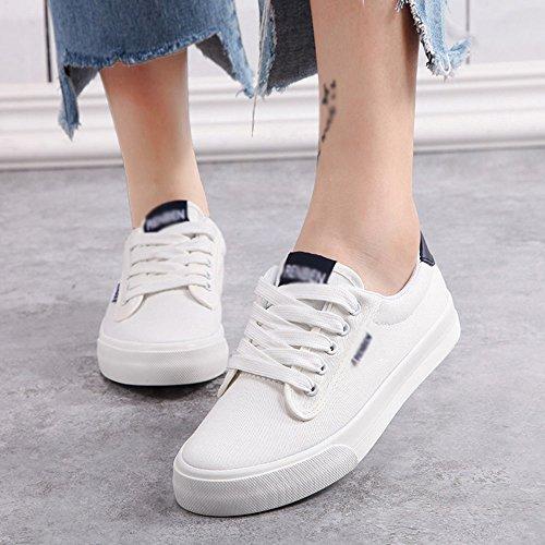 FEIFEI Zapatos de mujer de lona + suela de goma verano respirable plano inferior bajo ayuda zapatillas de moda zapatillas de lona ( Color : Verde , Tamaño : EU39/UK6.5/CN40 ) Blanco
