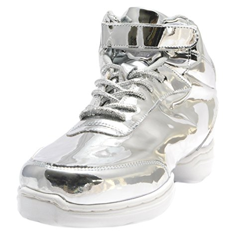 Nene's Collection Silver Women's Dance Fitness Shoes High Top Sneakers (8.5)