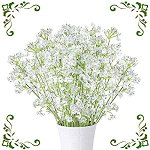 "MHMJON 10pcs 23.6"" Artificial Silk Babys Breath Fake Flower Wedding Bridal Bouquets Indoor Outdoor Home Kitchen Office DIY Hotel Table Decoration White 38"