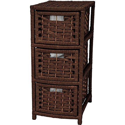 Oriental Furniture 25 Natural Fiber Occasional Chest of Drawers - Mocha by ORIENTAL FURNITURE - Natural Fiber Occasional Chest