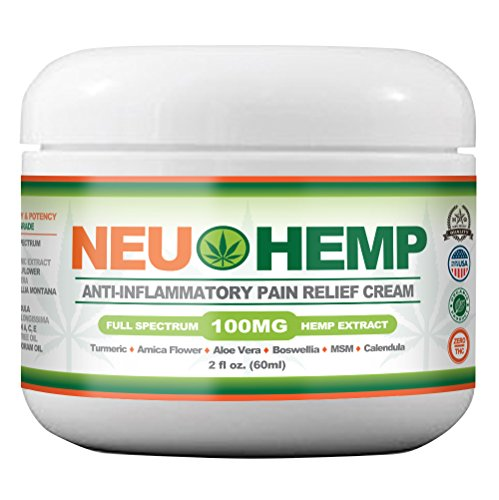 Organic Hemp Cream Pain Relief - 100mg Full Spectrum Hemp Extract for Sunburn Skin Nerve Damage Relieving Support Knee Joint Lower Back Neck Muscle Oil Turmeric Arnica MSM BOSWELLIA Aloe Vera 2oz