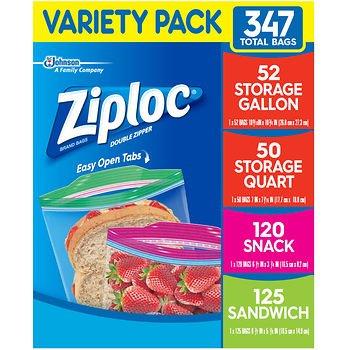 Ziplok Variety Pack, Gallon, Quart, Snack & Sandwich Bags Variety Pack 347)